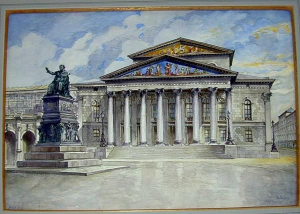 Artist turned Tyrant! Hitler spent less time painting in Munich, compared to Vienna, and collectors and historians consider his work from this period to be rare. However, as you can see from this piece featuring the Munich Opera House, he maintained his interest in architecture. This painting shows the opera house just after a rainstorm, with the building reflected in the wet pavement in front.