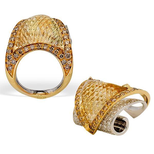 IO SI - SCAVIA CITRINE RING W/ YELLOW AND WHITE DIAMONDS
