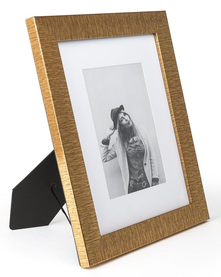 8 x 10 Plastic Picture Frame for Table or Wall, Matted to 5 x 7 - Metallic Gold