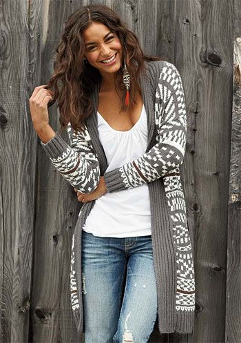 Styling long Aztec cardigan... Are they going to go out of fashion?