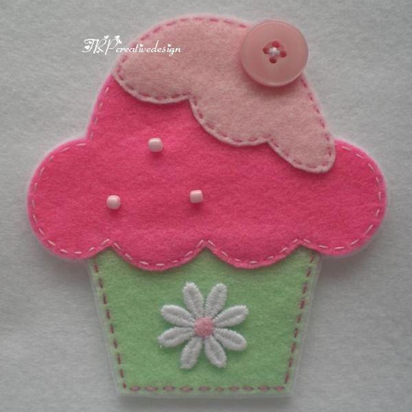 Handmade Cupcake Felt Applique Big Double by TRPcreativedesign01. $4.00, via Etsy.