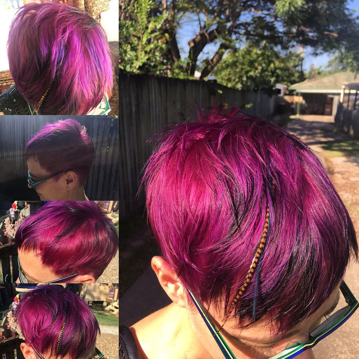 Purple short hair.  #purplehair #shortfunkyhair