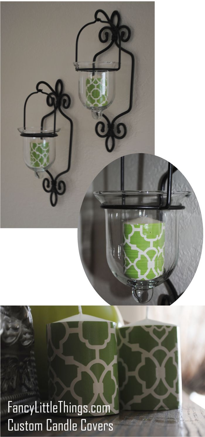 custom candle covers using wallpaper, modpodge - so easy, even someone allergic to crafts like me can do it!