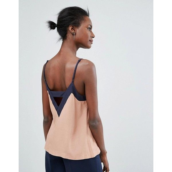 Y.A.S Colour Block Cami Top (70 AUD) ❤ liked on Polyvore featuring tops, multi, leather top, v-neck camisoles, block top, cami top and v neck cami
