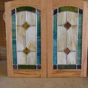 Leaded Gl Kitchen Cabinet Door Doors Cabinets Stained