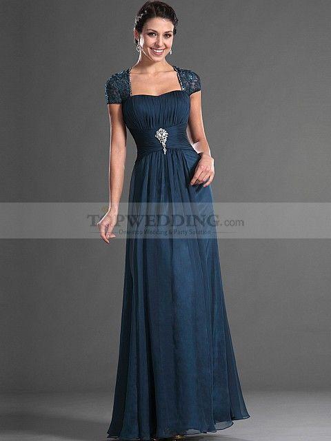 Letha - Bodenlangen Chiffon Kleid für Mutter der Braut mit Perlen und Flügelärmel