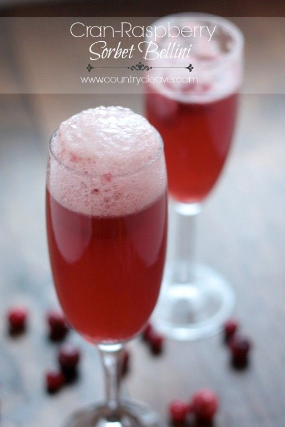 Cran-Raspberry Sorbet Bellini - so easy for the holidays, and can be made with champagne or sparkling cider!