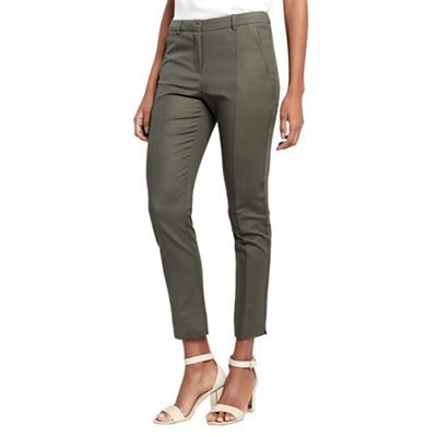 Oasis Khaki compact cotton trousers | Debenhams