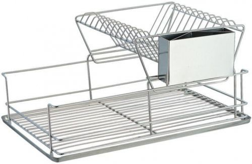 2-Tier-Kitchen-Counter-Dish-Rack-Stainless-Steel-Silverware-Cutlery-Holder-Home
