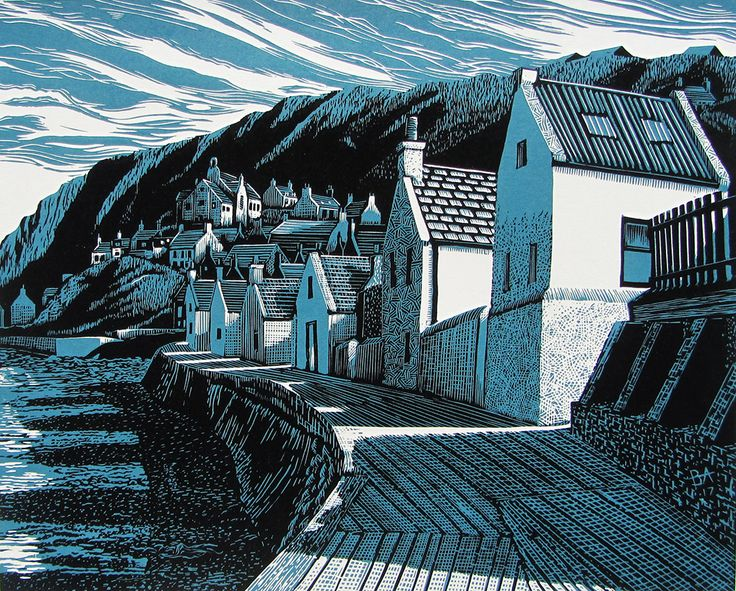 Bryan Angus Scottish Artist, painter, pastels, lino prints | Gamrie Sunday
