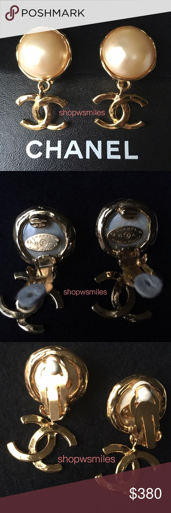 """Authentic CHANEL Earrings 🚫No Trades🚫 AUTHENTIC CHANEL GOLDTONE FAUX PEARL CC DROP DANGLE CLIP ON EARRINGS  🚫PRICE IS FIRM. SORRY, NO TRADES.🚫 - EXCELLENT condition - Made in France, 93A - Faux Pearl Diameter: 0.8"""" (approx) - Earring Length: 1.7"""" (approx) - Comes with: Box Chanel Jewelry Earrings"""