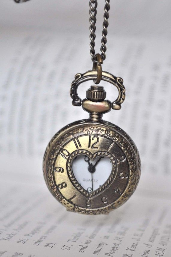 TIMELESS LOVE Victorian Style locket pocket watch pendant necklace via etsy.com