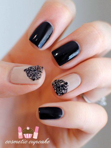 Filigree nails;      Nude base: Bloom Toni;  Plate: Bundle Monster 214 (stamped twice);  Black stamping polish: Konad Special Polish;  Black base: Glitter Gal Serpent Black; with black rhinestone accents
