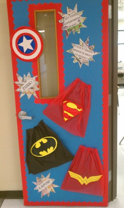 """Cut our capes out of dollar store tablecloths and add some """"action words""""  or your kids names. Preschool is super. Super hero bulletin boards"""