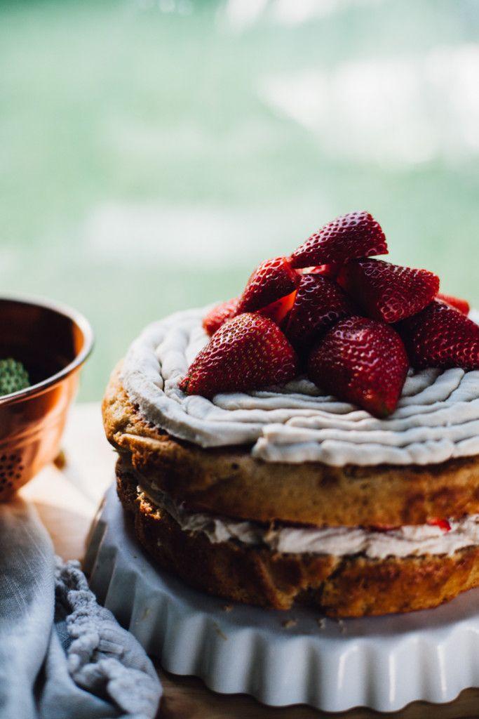 Strawberries and Cream Kombucha Cake w/ Genius Cashew Coconut Frosting (Vegan)
