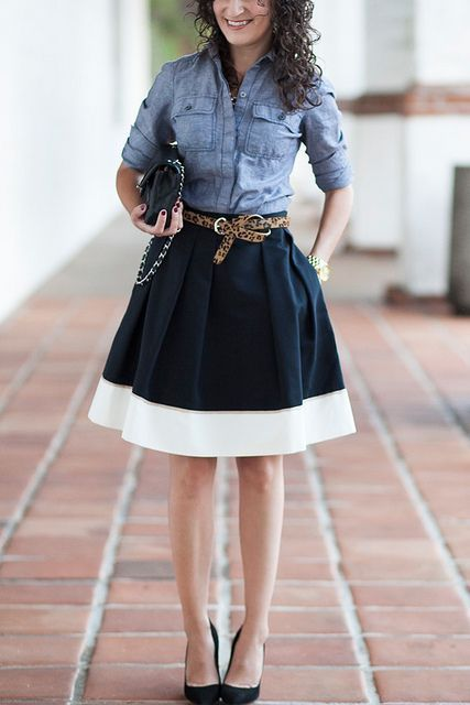 black and white skirt/ denim top/ leopard belt