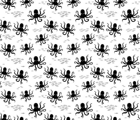 Octopus - Black and White by Andrea Lauren fabric by andrea_lauren on Spoonflower - custom fabric