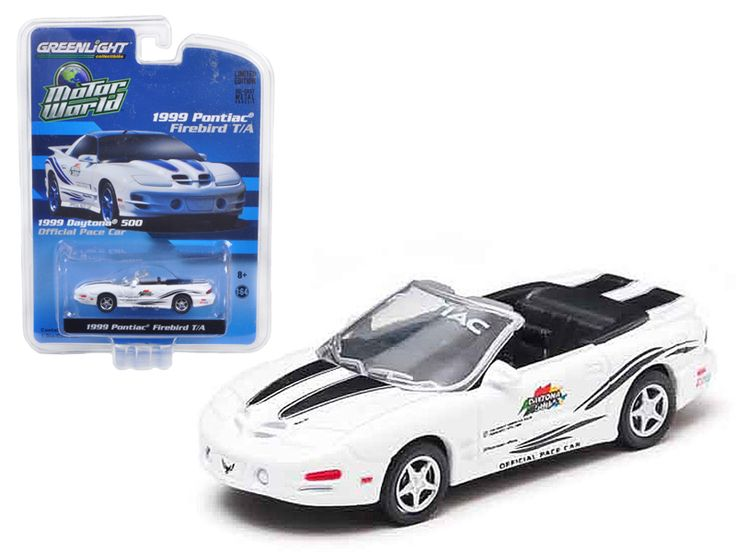 1999 Pontiac Firebird Trans Am 30th Anniversary Daytona 500 Pace Car 1/64 Diecast Model Car by Greenlight - Limited Edition 1 of 2016 Produced Worldwide. Has Rubber Tires. Detailed Interior, Exterior. Metal Body and Chassis. Packed in a blister pack. Officially Licensed Product. Dimensions Approximately L-2 1/2 Inches Long. 1999 Pontiac Firebird Trans Am 30th Anniversary Daytona 500 Pace Car 1/64 Diecast Model Car by Greenlight.-Weight: 1. Height: 5. Width: 9. Box Weight: 1. Box Width: 9…