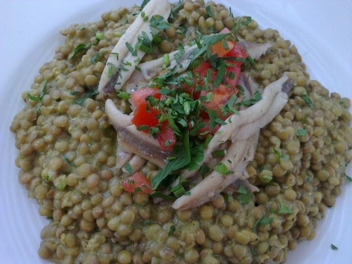 Lentil salad with anchovies, Acropolis Museum Restaurant, Athens