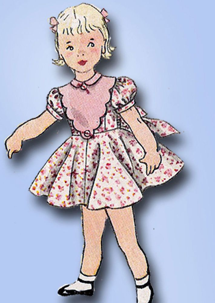 1950s Vintage Simplicity Sewing Pattern 3753 Toddler Girls Party Dress Size 2 #Simplicity #DressPattern
