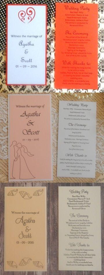 Double sided rectangle wedding programmes