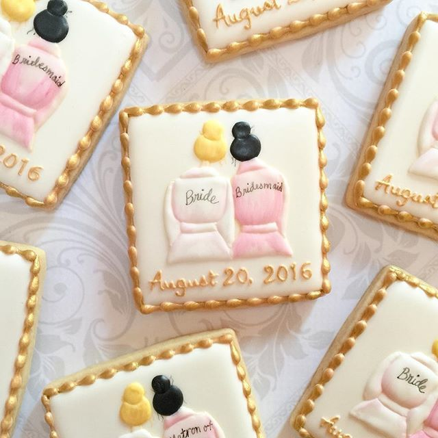"A different kind of ""Will you be my bridesmaid/matron of honor"" cookies. Artwork provided by customer. #decoratedcookies #prettyinpink #decoratedsugarcookies #bridesmaidcookies #weddingcookies #customcookies #torontocookies #torontosugarcookies #torontocustomcookies #thesweetesttiers"