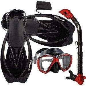 PROMATE Snorkeling Scuba Dive Dry Snorkel New Fish-Eye Mask Fins Gear Set, Black Red, S/M (Misc.)  www.amazon.com/...  B0040HMGZQ