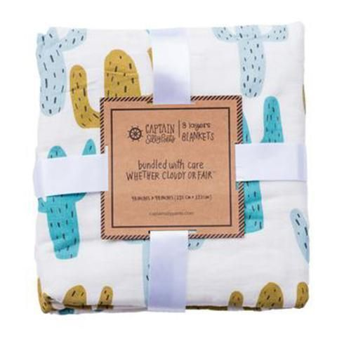 Looking For A Cactus Blanket | Prickly Pear Triple Layer Bamboo Blanket Is What You've Been Waiting For | Shop this blanket and more on our website!