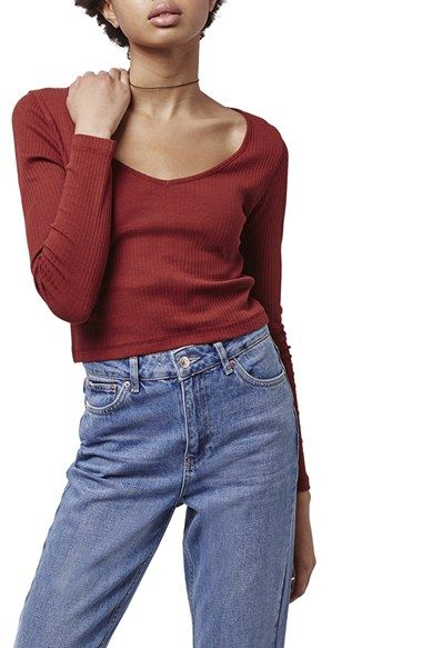 Topshop V-Neck Crop Sweater available at #Nordstrom