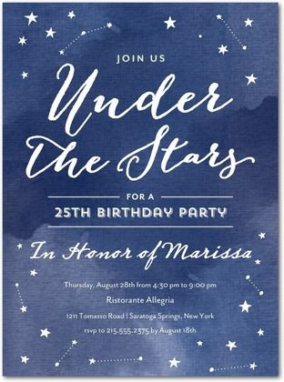 Lettering | Stellar Gala - Adult Birthday Party Invitations in Baltic or Slate | Magnolia Press