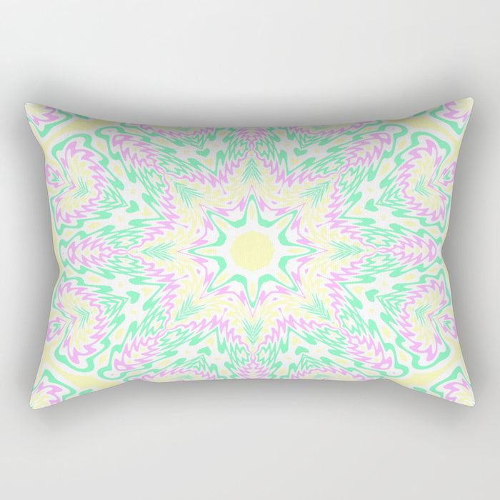 Pastel Mandala 2 Rectangular Pillow by Kaleiope Studio #light #lightcolour #lightcolor #lightcolours #lightcolors #softcolors #pastelcolor #pastelcolour #pastelcolours #pastelcolors #softcolor #softcolours #softcolors #boho #bohemian #hipster #groovy #psychedelic #trippy #funky #symmetrical #symmetry #mirrored #kaleidoscope #mandala #pink #yellow #green #homedecor #pillows #bedding #mod #modern #trendy #chic #intricate #ornate #ornamental