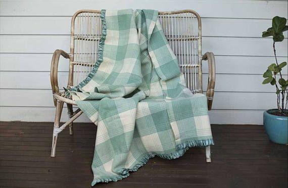 Vintage Wool Blanket Vintage Bedspread green beige cream