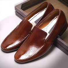 New Handmade Leather Mens Dress Formal Shoes Slip on Loafers Brown Gentle   (seersucker suit pic) second option-engagement pic