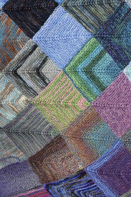 Mitred Squares Blanket - Part 1. Perfect for using up all of your beautiful sock yarn leftovers from other projects.