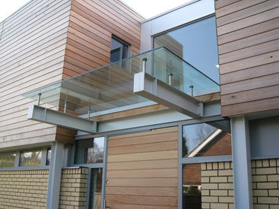 17.5mm laminated glass canopy on stainless steel supports