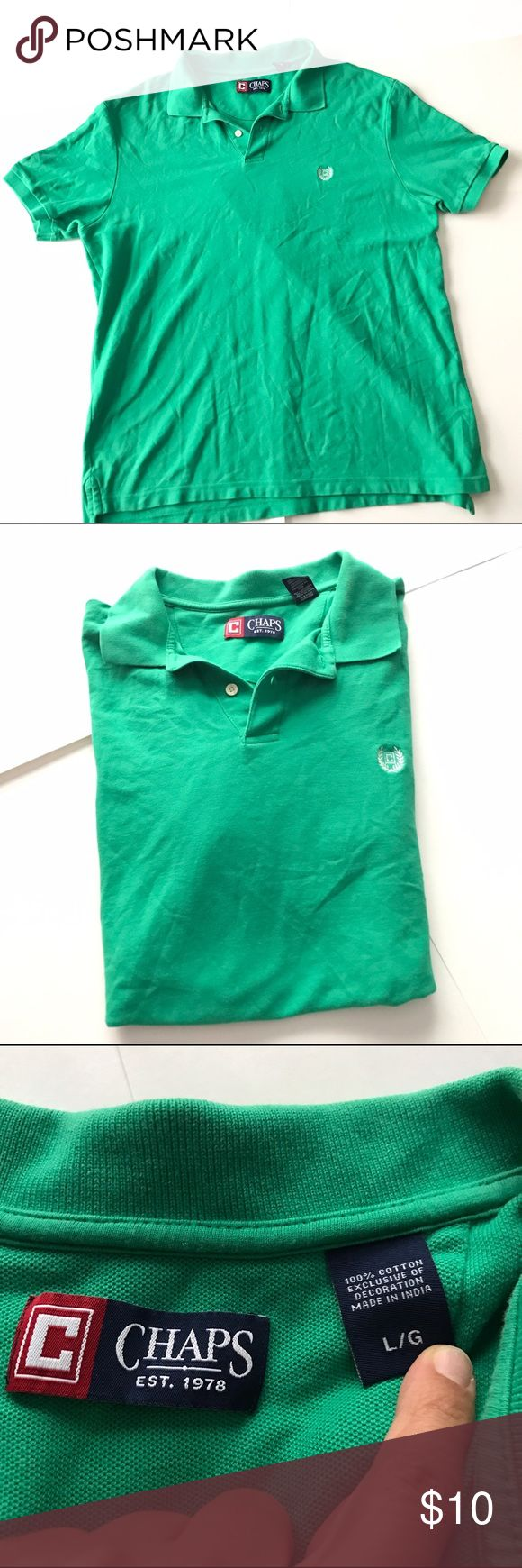 🦁Chaps Men's Green Polo Shirt Lrg Great condition Chaps Shirts Polos