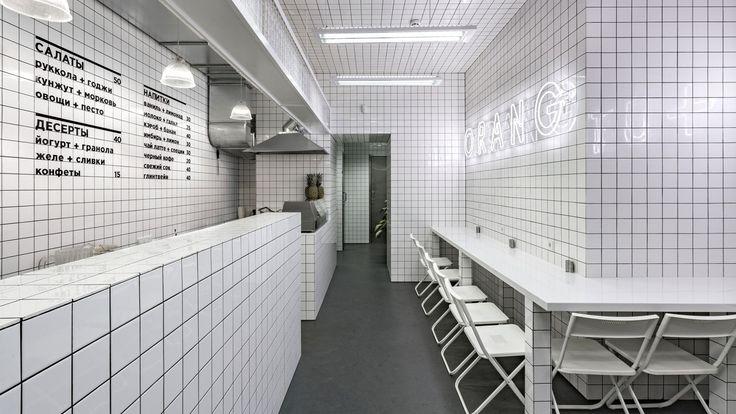 Urban Jungle meets Futuristic Grids at Orang+Utan Vegetarian Bar in Kiev, Ukraine. https://www.yatzer.com/orang-utan-vegetarian-bar-akz-architectura