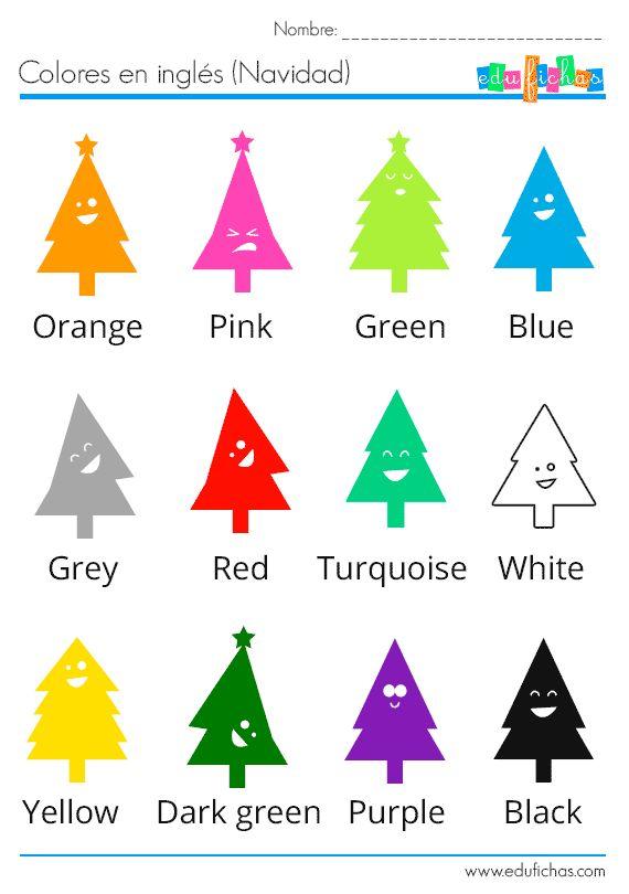 Ficha infantil para niños de 3 años con vocabulario de los colores en inglés (6 colores). La ficha es coloreable e incluye ejercicio de dibujo para repasar.