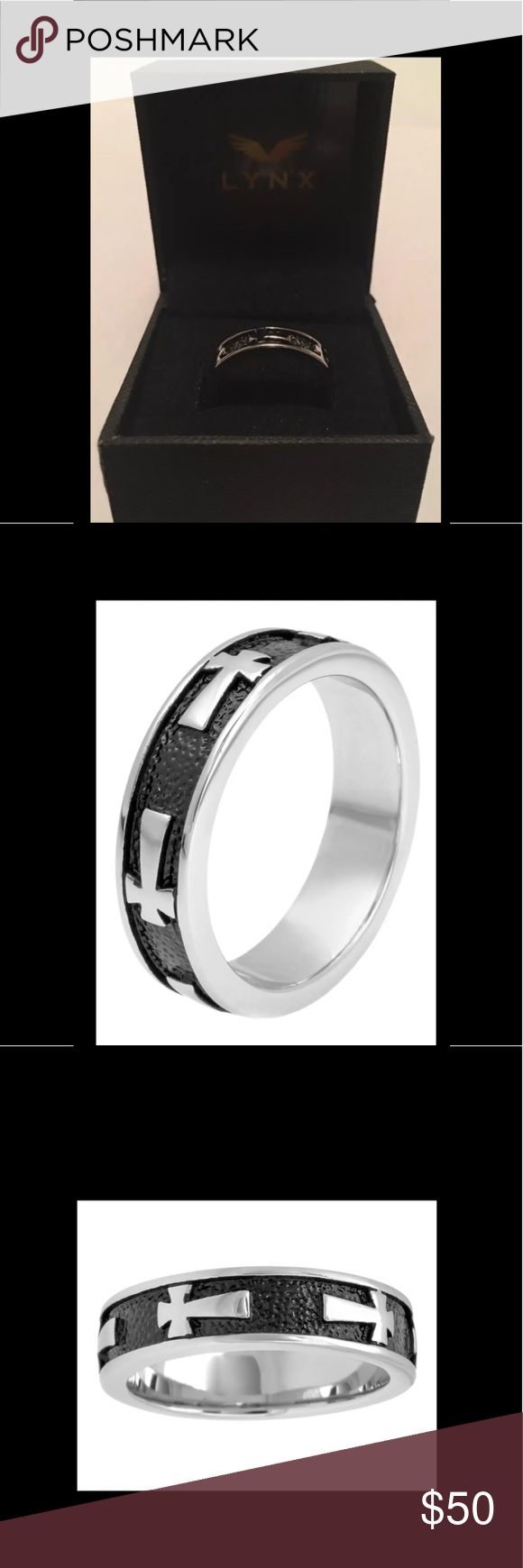 "MENS STAINLESS STEEL SIDEWAYS CROSS BAND ✅ "" LYNX "" MENS STAINLESS STEEL SIDEWAYS CROSS BAND 😀. Decorated with a sideways cross motif accentuated with black ion-plated stainless steel details! This men's band exemplifies your faith in a handsome way .....!   ( BIN# D11-9210DS ) ✅. NEW IN BOX ! GET IT !! LINX Accessories Jewelry"