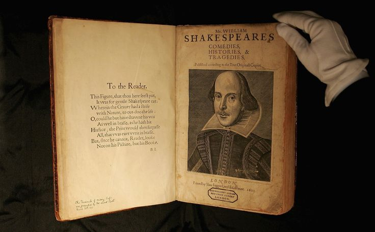 A traveling exhibition including the First Folio, a collection of the playwright's works, debuted Monday in Oklahoma, Oregon and Indiana.