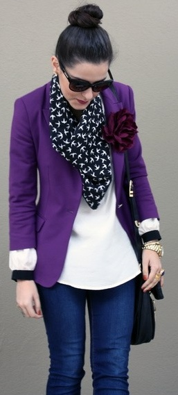 Great idea! I've got a purple blazer, a red flower pin that I could do this and I like the addition of the scarf! For Casual Fridays!