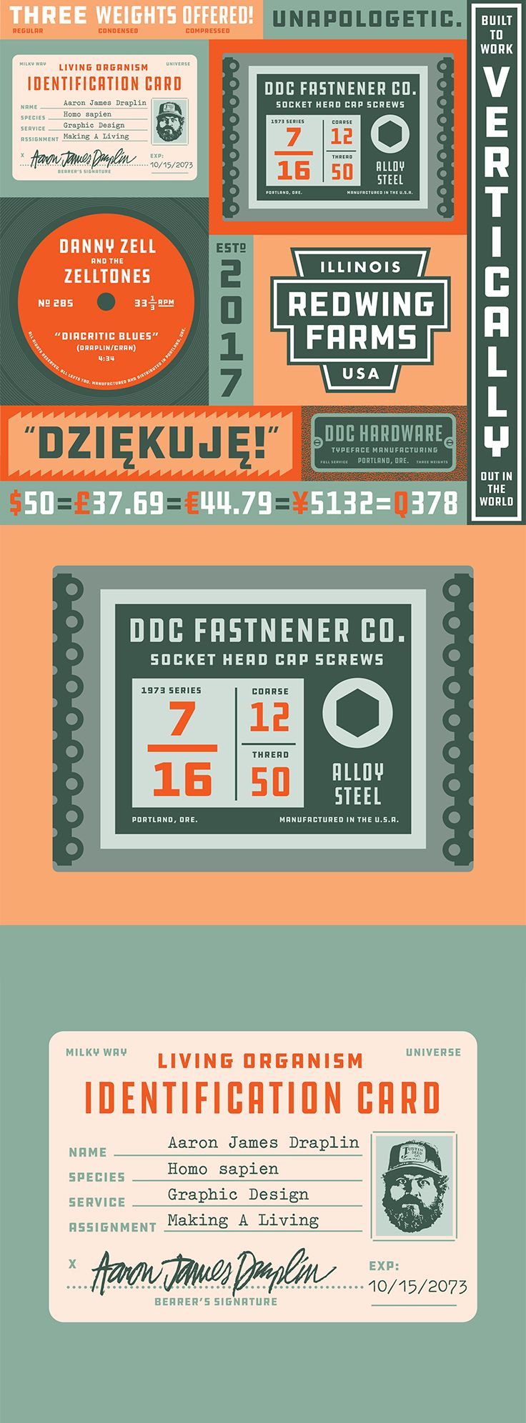 FREE FONT   Download a free font designed by legendary graphic designer Aaron Draplin. DDC Hardware is a typeface inspired by hard working blue collars and have really nice retro look. Download for free on losttype.com