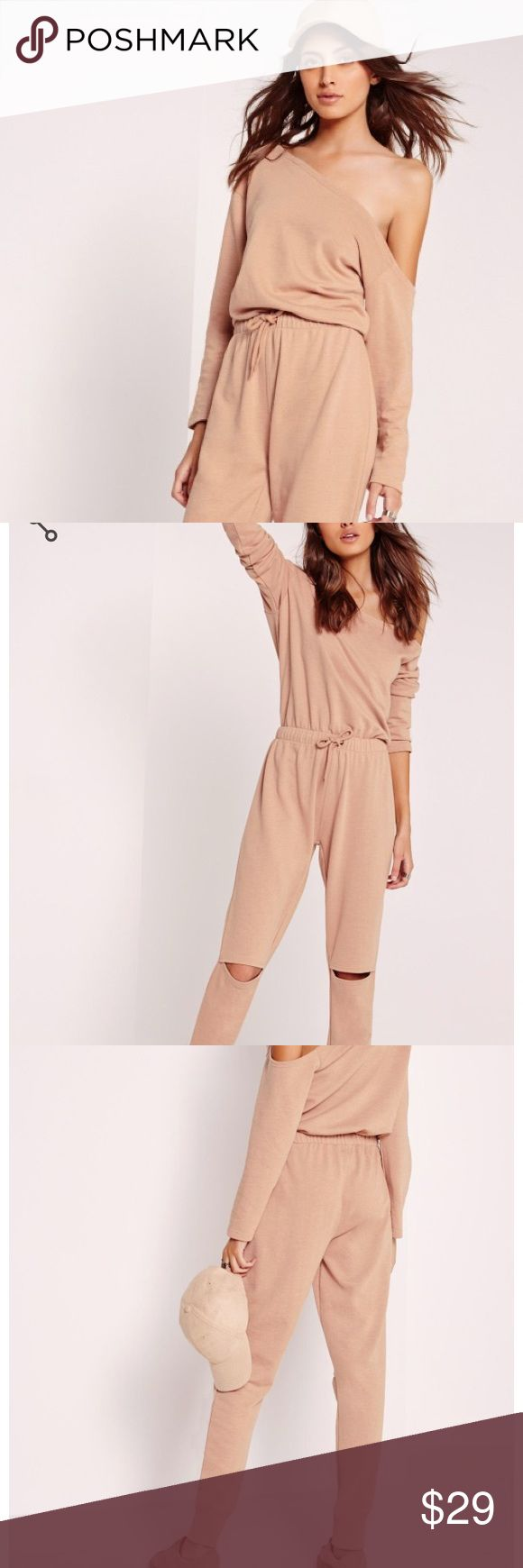 """Off the Shoulder Nude Jumpsuit NWT! Still in packaging. Work some major day cool vibes this season in this seriously standout nude jumpsuit. in an on point soft touch jersey fabric this off the shoulder number with slit knee feature will give you a killer' day time style. team with flats and shoulder bag for an effortlessly styled day look. approx length 139cm/55"""" (based on a uk size 8 sample)  95% viscose 5% elastane   cindy wears a uk size 8 / eu size 36 / us size 4 and her height is 5'9""""…"""