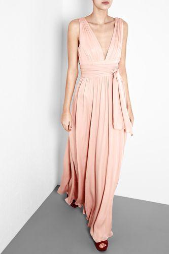 Halston Heritage Bisque Silk Goddess Gown
