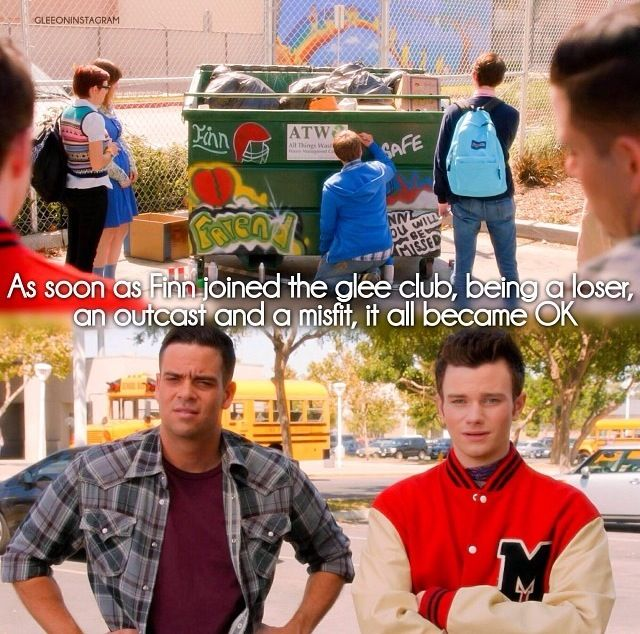 I love how confused Puck looks, I mean, he is standing next to Kurt who was thrown into the dumpsters by other football players and told when to do it by Finn.
