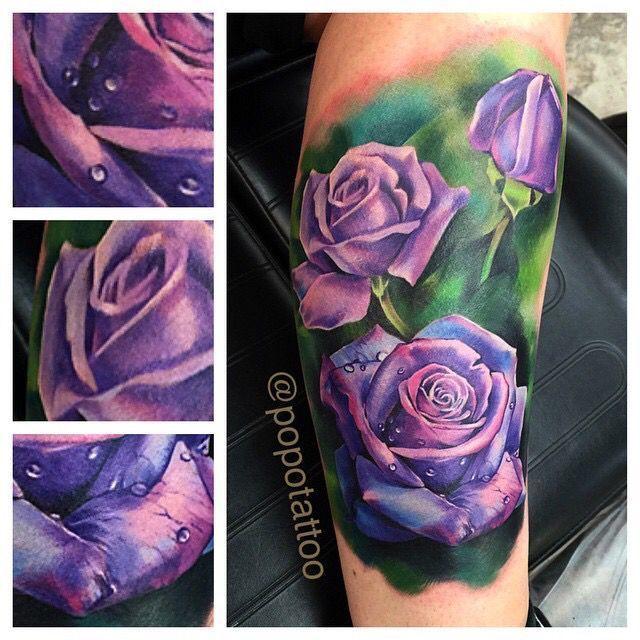 Image result for purple flower tattoo on shoulder