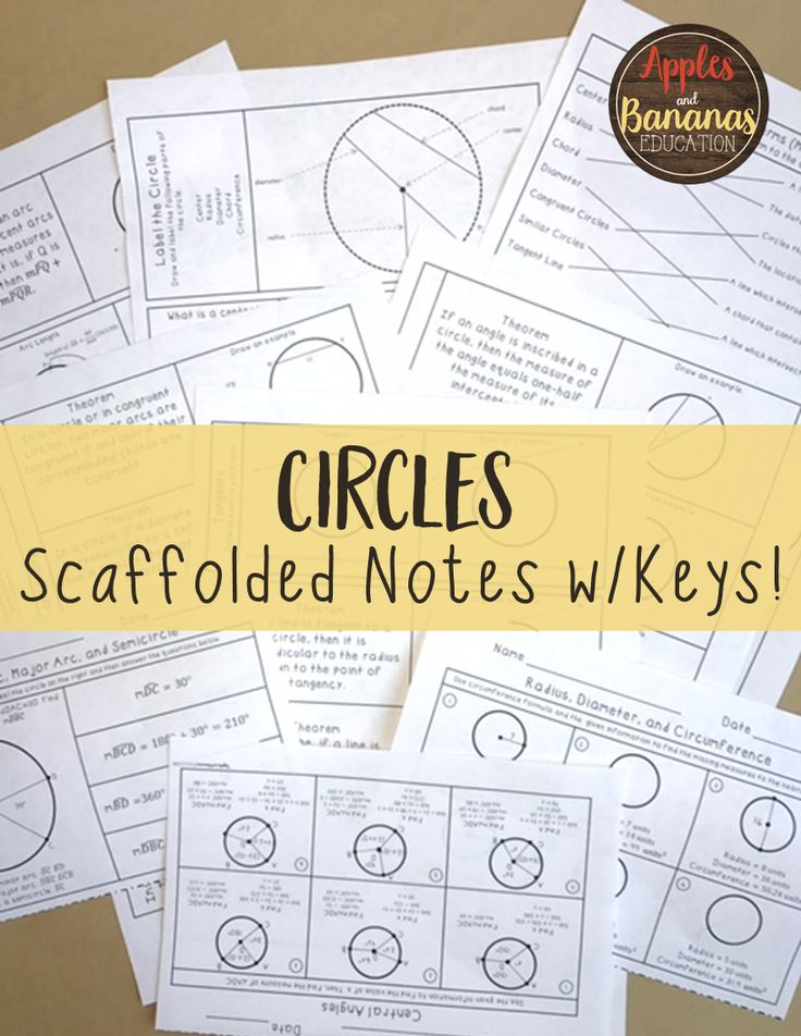 Circles- Geometry interactive note-taking materials. Includes INB activities, scaffolded notes, and exit tickets. Includes the following topics: circle terms, radius, diameter, circumference, central angles, arc measures, arc length, chords, inscribed angles, tangents, inscribed and circumscribed polygons, secants, special segments in a circle, area of a sector of a circle, graphing circles, and more.