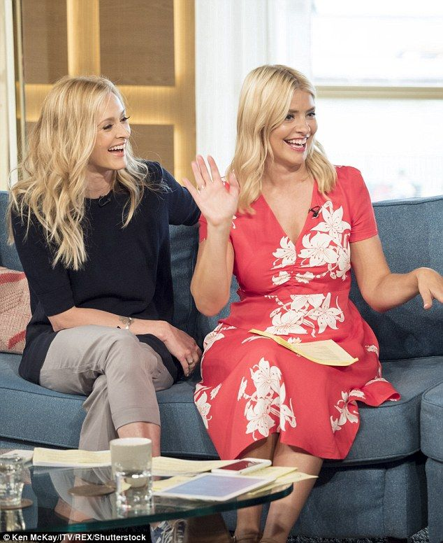 Double trouble: Fearne looked delighted to reunite with her Celebrity Juice co-host and closest friend Holly