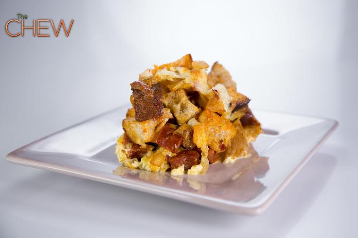 Mario Batali's Chorizo and Manchego Strata recipe.