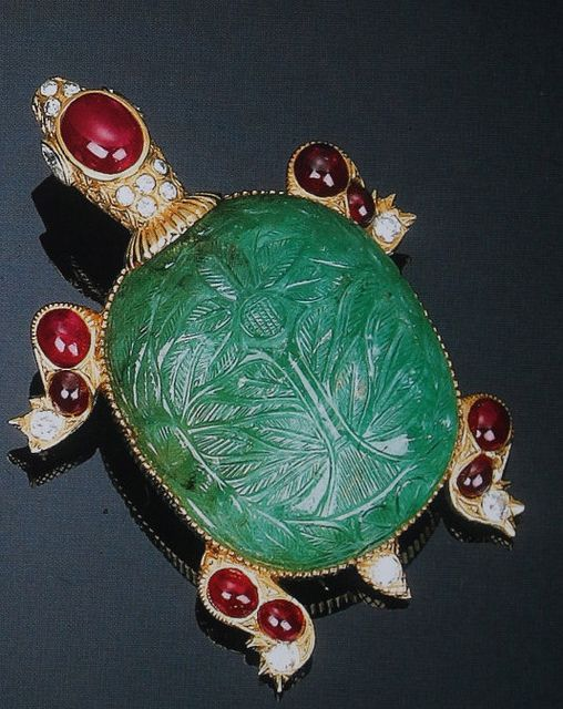 Cartier | 'Turtle brooch' jade, rubies & diamonds.